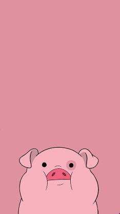 绘画 插画 粉 猪头
