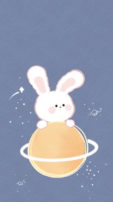 繪畫 插畫 兔子 月亮 月球