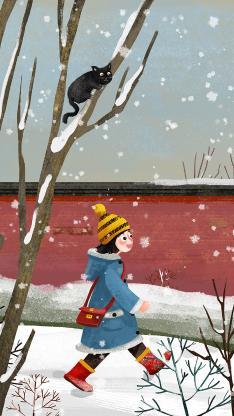 雪地 插画 女孩 黑猫