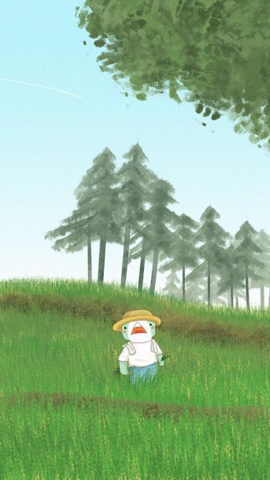 卡通 插画 农田 小人 种植