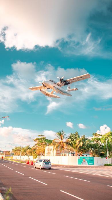 飛機 藍天 白云 飛行