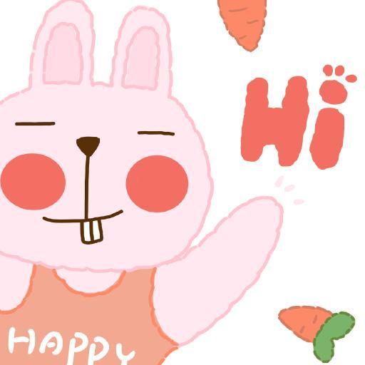 hi 兔子 胡萝卜 卡通 happy - 副本
