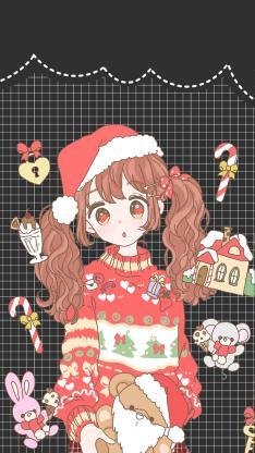 圣诞 女孩 红色 可爱