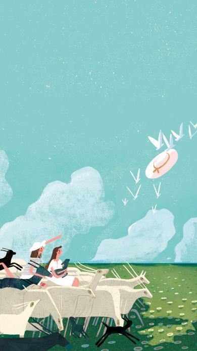 手绘 风景 插画 羊群 女孩 绿色