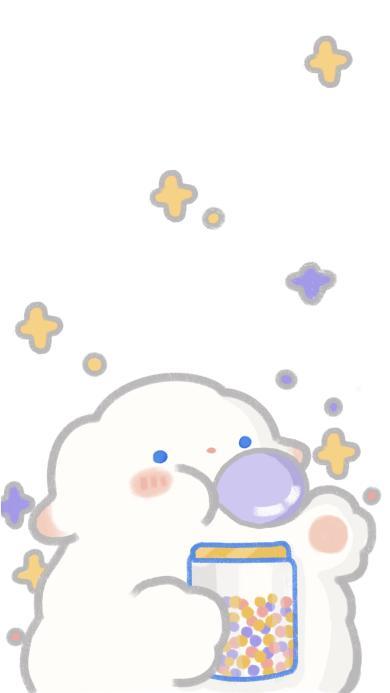 插画 小羊羊 泡泡糖 可爱(取自微博:只是一只小羊羊)