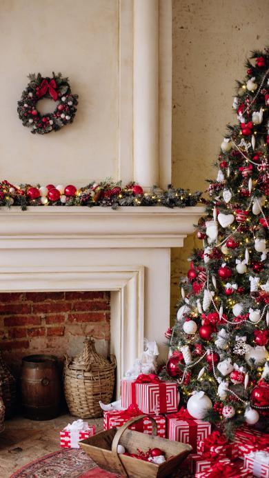 圣诞节 圣诞树 装饰 壁炉