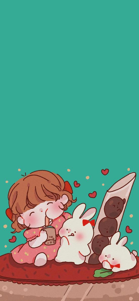 卡通 女孩 小兔子 愛心