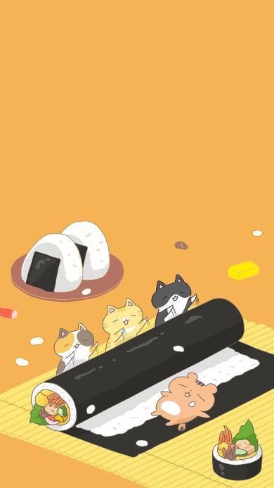 卡通 猫咪 寿司卷 饭团 可爱