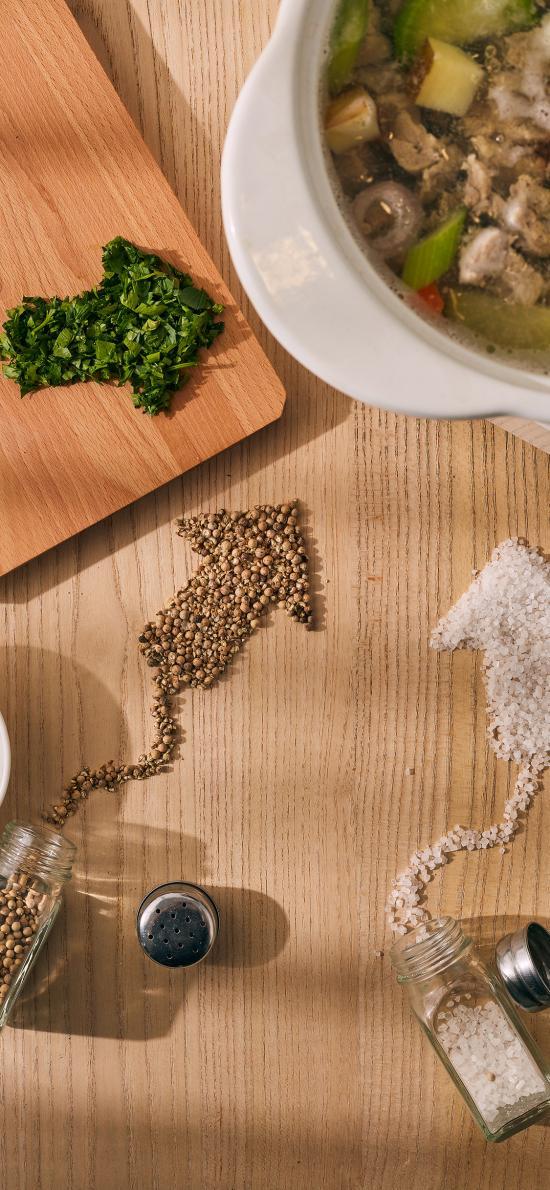 食材 调料 芹菜 胡椒 盐巴 汤