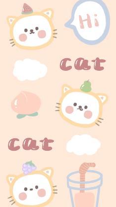 cat 猫咪 hi 插画 可爱