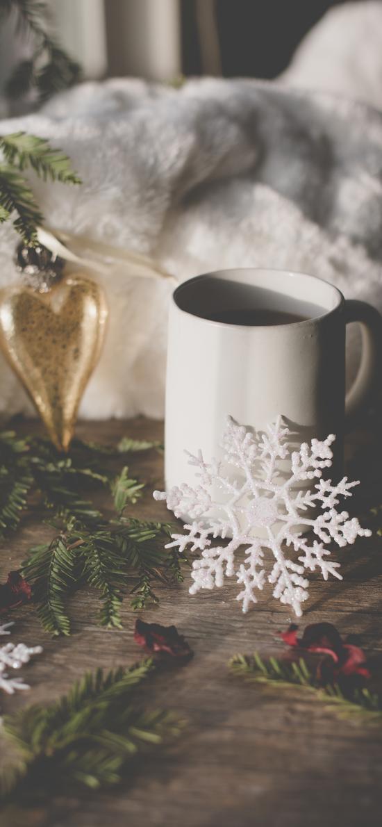 静物 圣诞 雪花 树枝
