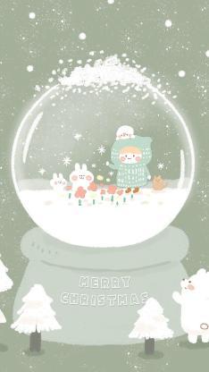 插画 圣诞 玻璃球 雪球