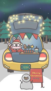 圣诞节 卡通兔兔 雪人 Merry Christmas