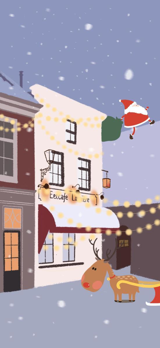 圣诞节 圣诞老人 驯鹿 (取自微博:力力君)
