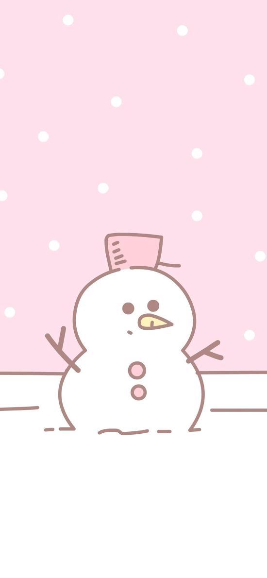 雪人 粉白 可爱 简单