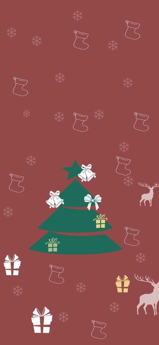 圣诞 圣诞树 平铺 卡通