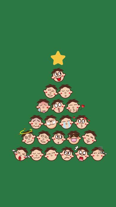 旺仔 圣诞节 圣诞树 绿色背景 星星