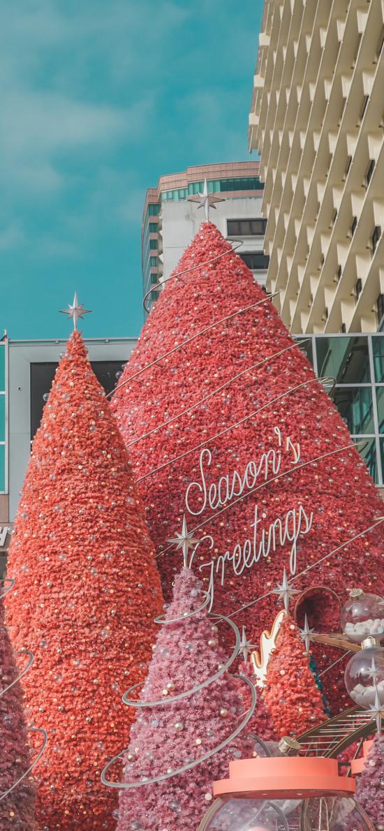 圣诞树 粉色 圣诞节 装饰