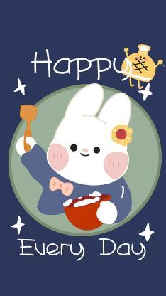 可爱 happy every day 兔子 卡通