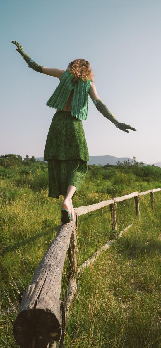 郊外 木欄 模特 寫真 造型