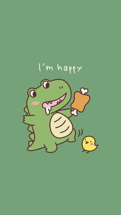 卡通 恐龙 绿色 Im happy