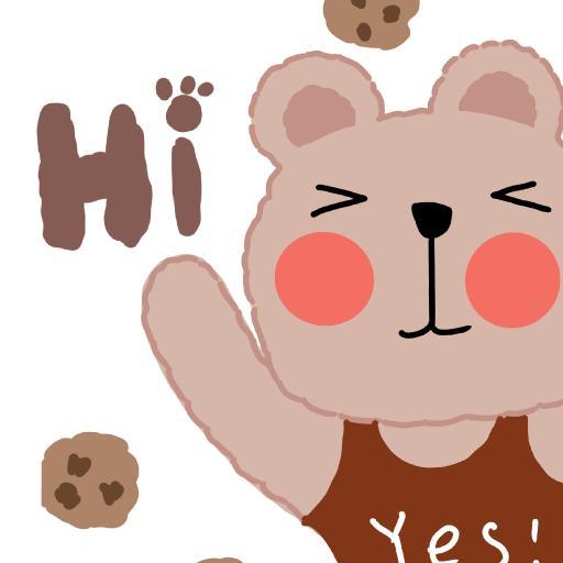 卡通 小熊 简约 曲奇 yes hi