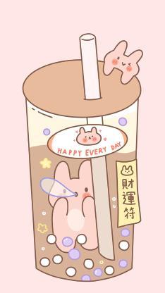 卡通 奶茶 小兔子 财运符