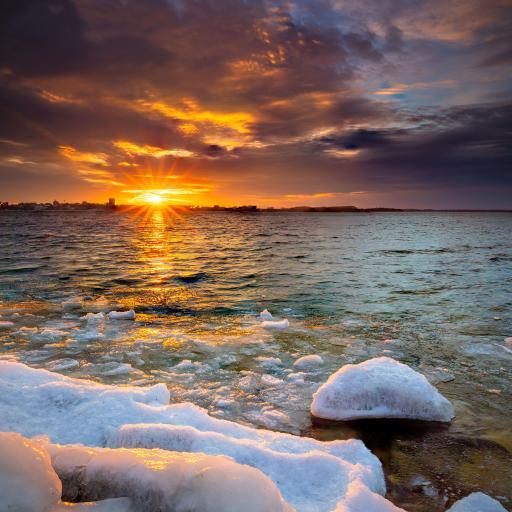 大海 夕阳 岩石 冰块
