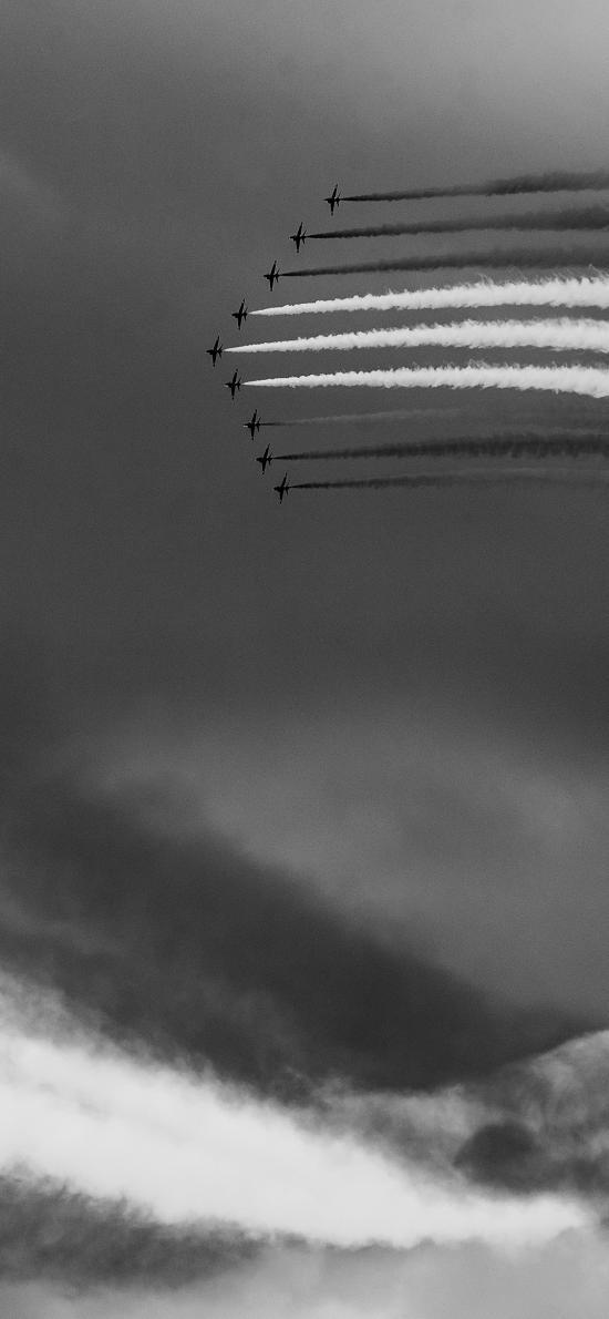 飞机 战斗机 飞行 航空 黑白 烟雾