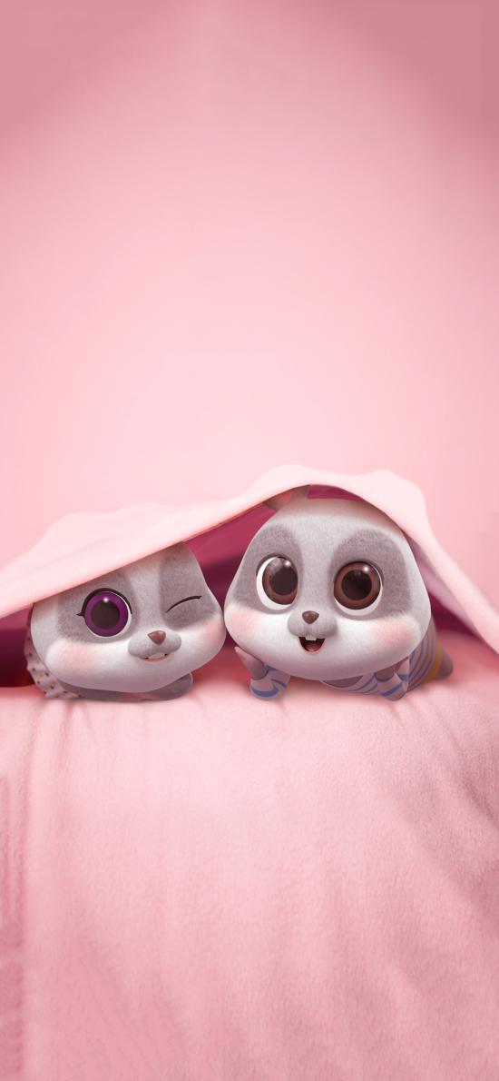 鼠元寶 老鼠 可愛 粉色 被窩