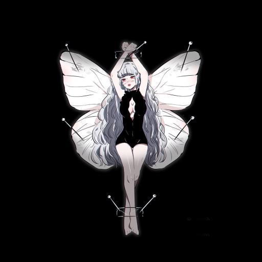 蝴蝶 翅膀 少女 黑色 插画师:stephaniepriscilla 