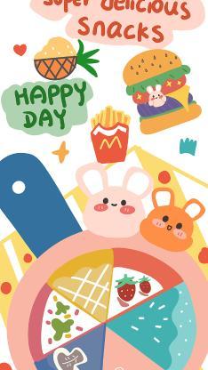 卡通 色彩 可爱 happyday 汉堡