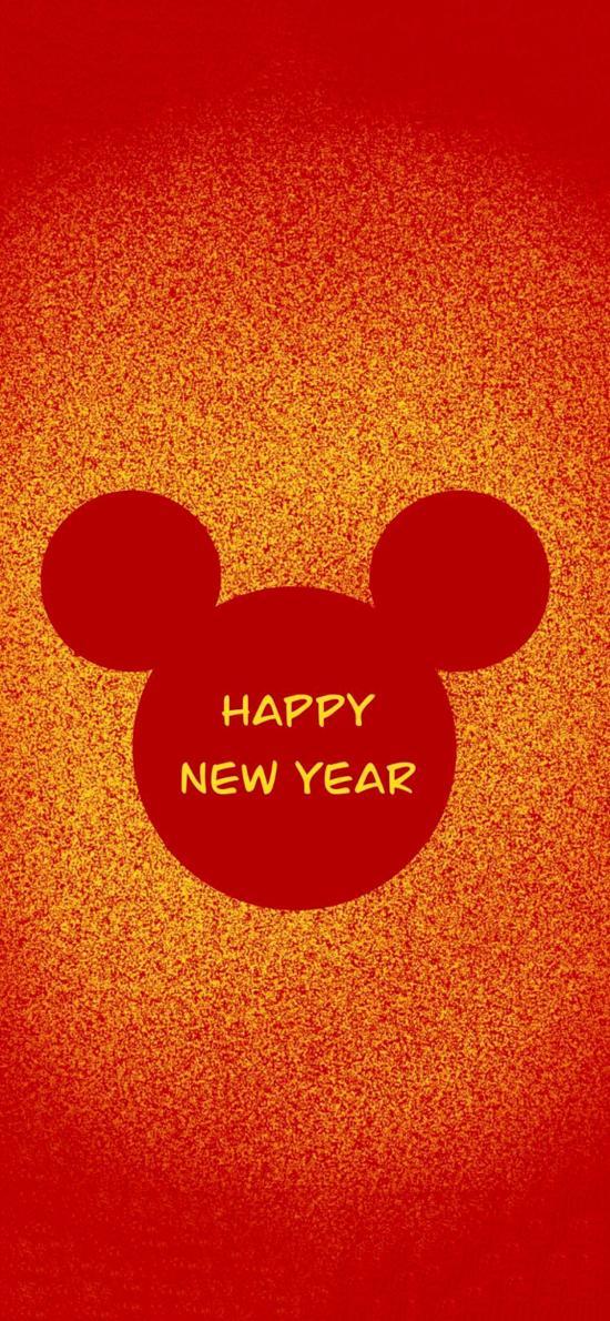 红色背景 鼠年 米老鼠 Happy New Year