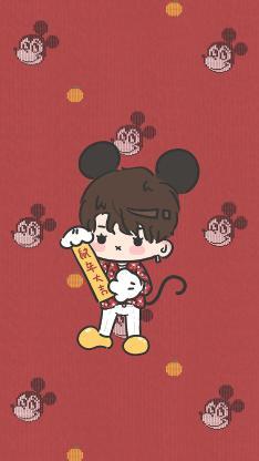 鼠年大吉 红色 米老鼠 男孩