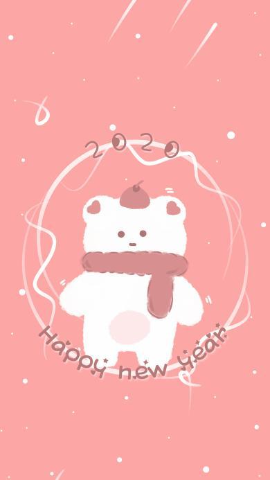 2020 happy new year 鼠年 小熊