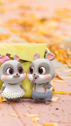 鼠元宝 老鼠 可爱 秋天 落叶
