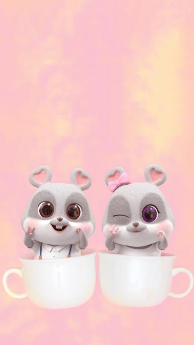 鼠元宝 老鼠 可爱 杯子 粉色