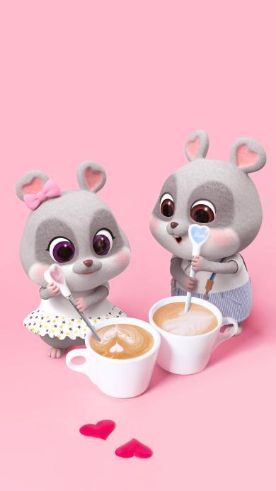 鼠元寶 老鼠 可愛 摩卡 咖啡