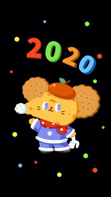 2020 老鼠 新年 黑色