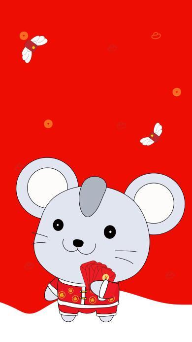 红包 老鼠 红色 新年