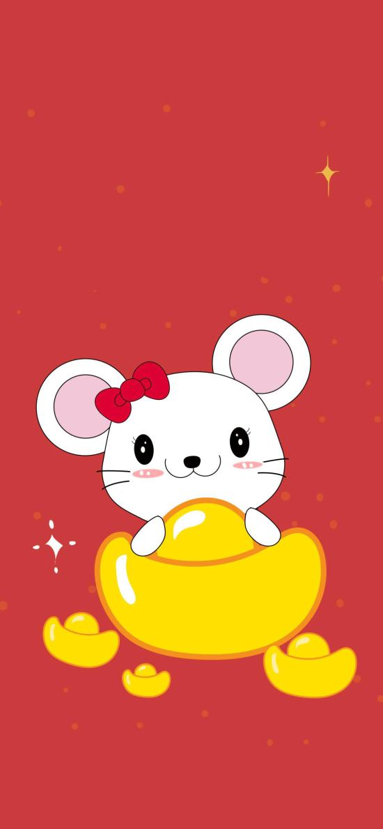 老鼠 金元宝 红色 新年
