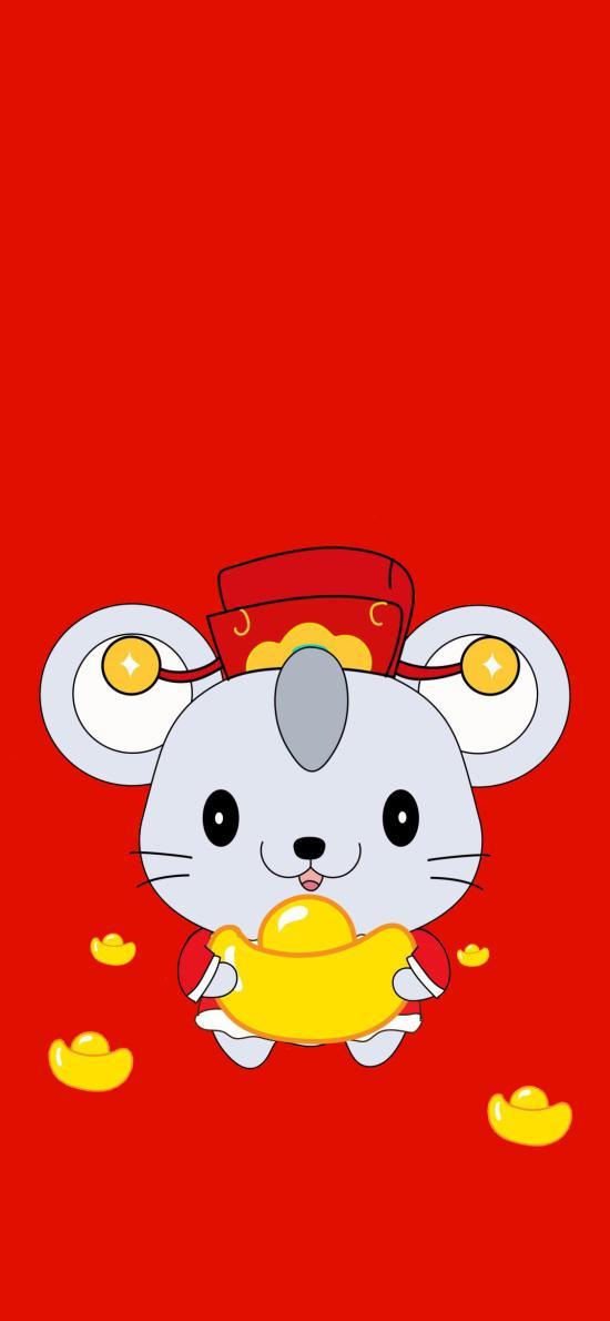 金元宝 老鼠 新年 红色