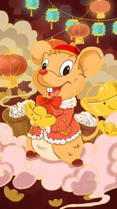 鼠年 插图 元宝 新年
