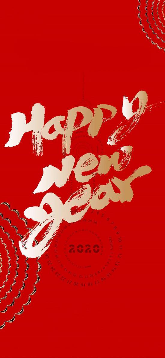 2020 新年 鼠年 红 happy new year