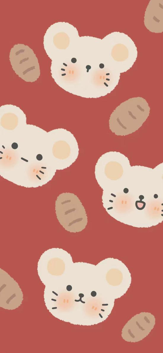 老鼠 插畫 紅色 平鋪