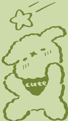 卡通 小狗 星星 可爱 绿色