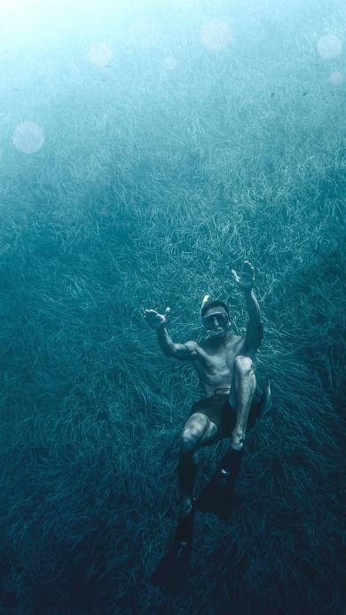 潜水 型男 海底世界 鱼群
