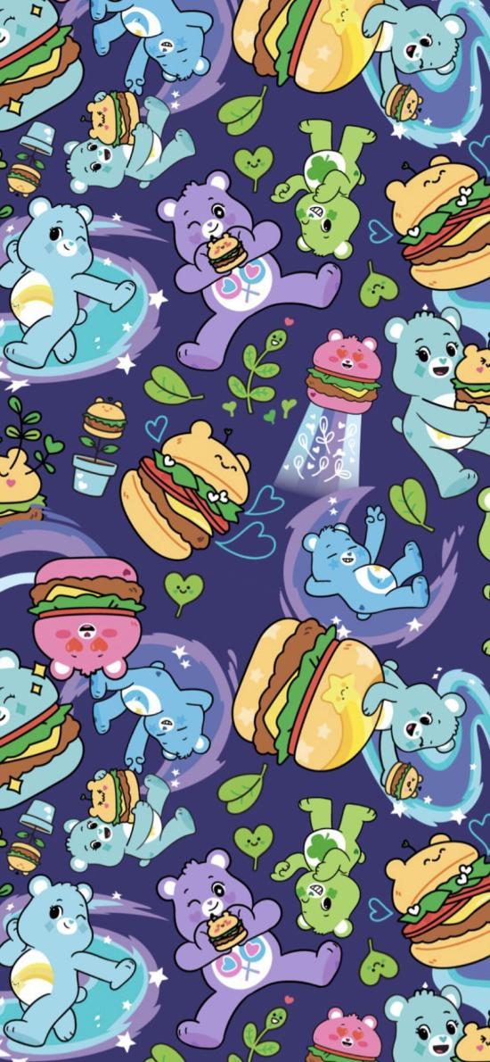 愛心小熊 彩虹熊 漢堡 平鋪