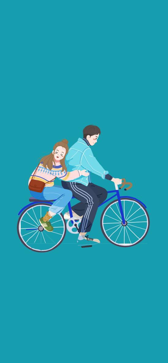情侣 蓝 单车 亲密
