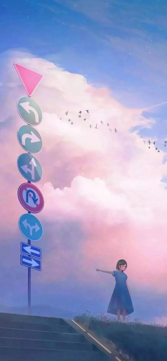 插畫 女孩 路牌 天空